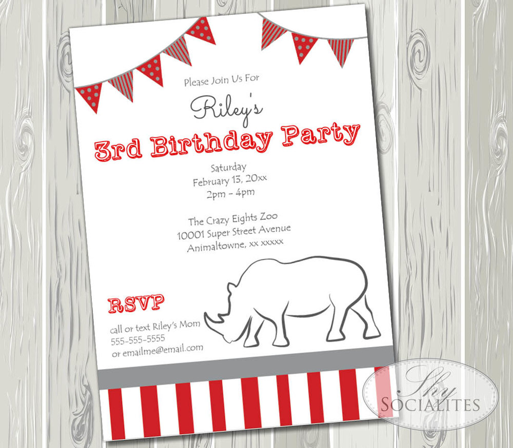 Preppy and Fun Rhino Invitation
