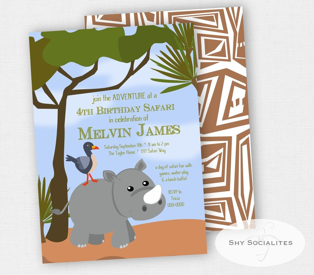 Playful Cartoon Rhino Invitation
