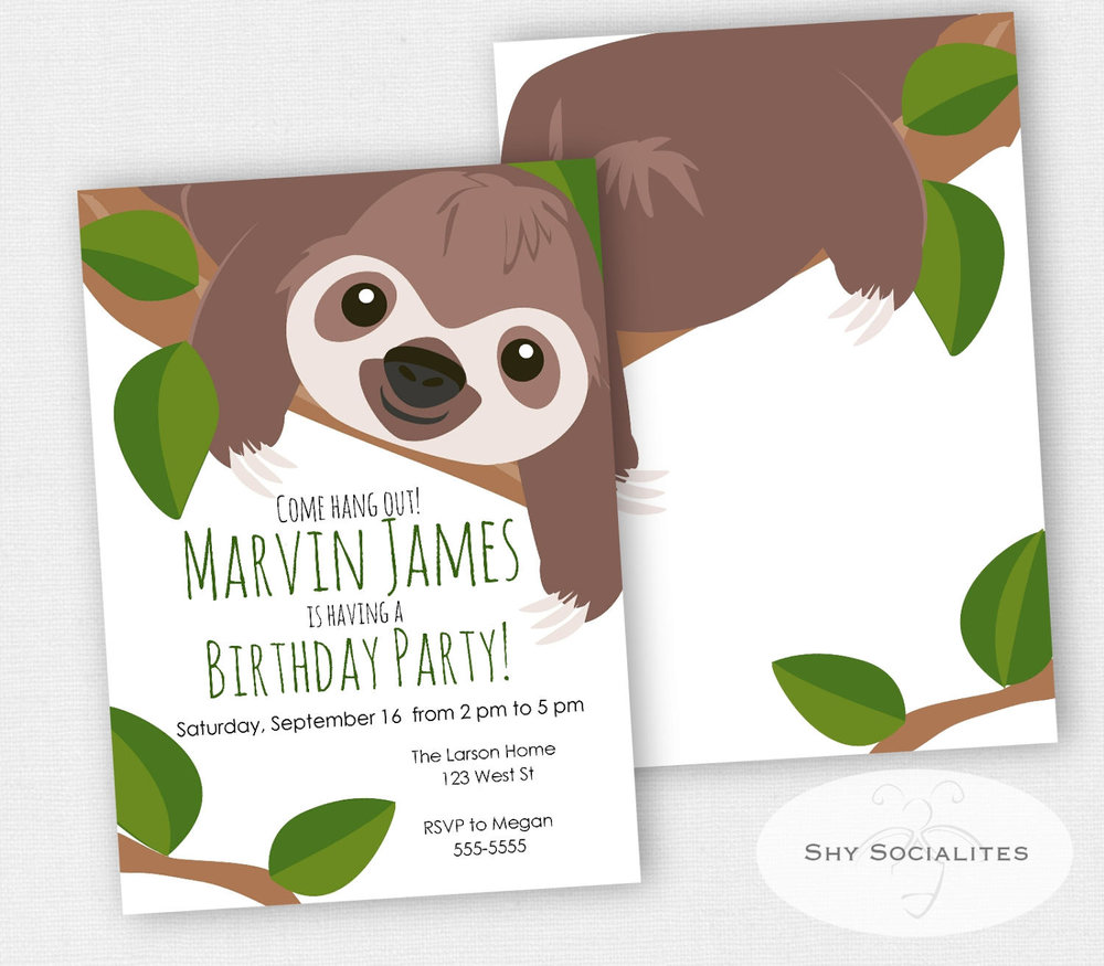 Sloth Party Invitation