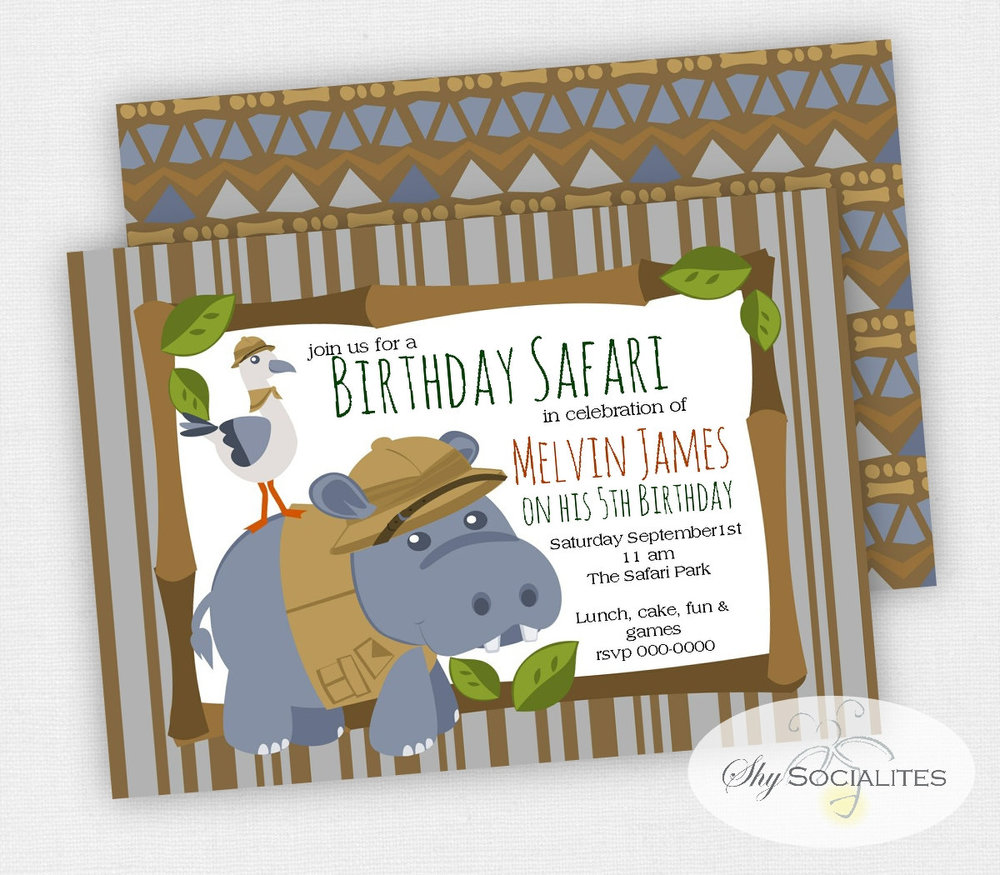 Fun Hippopotamus Party Invitation