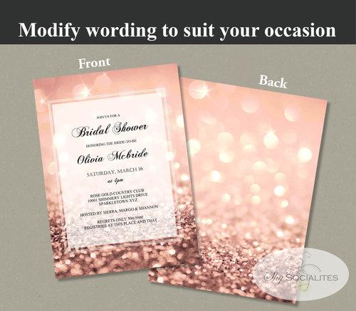rose gold glitter invitation shy socialites