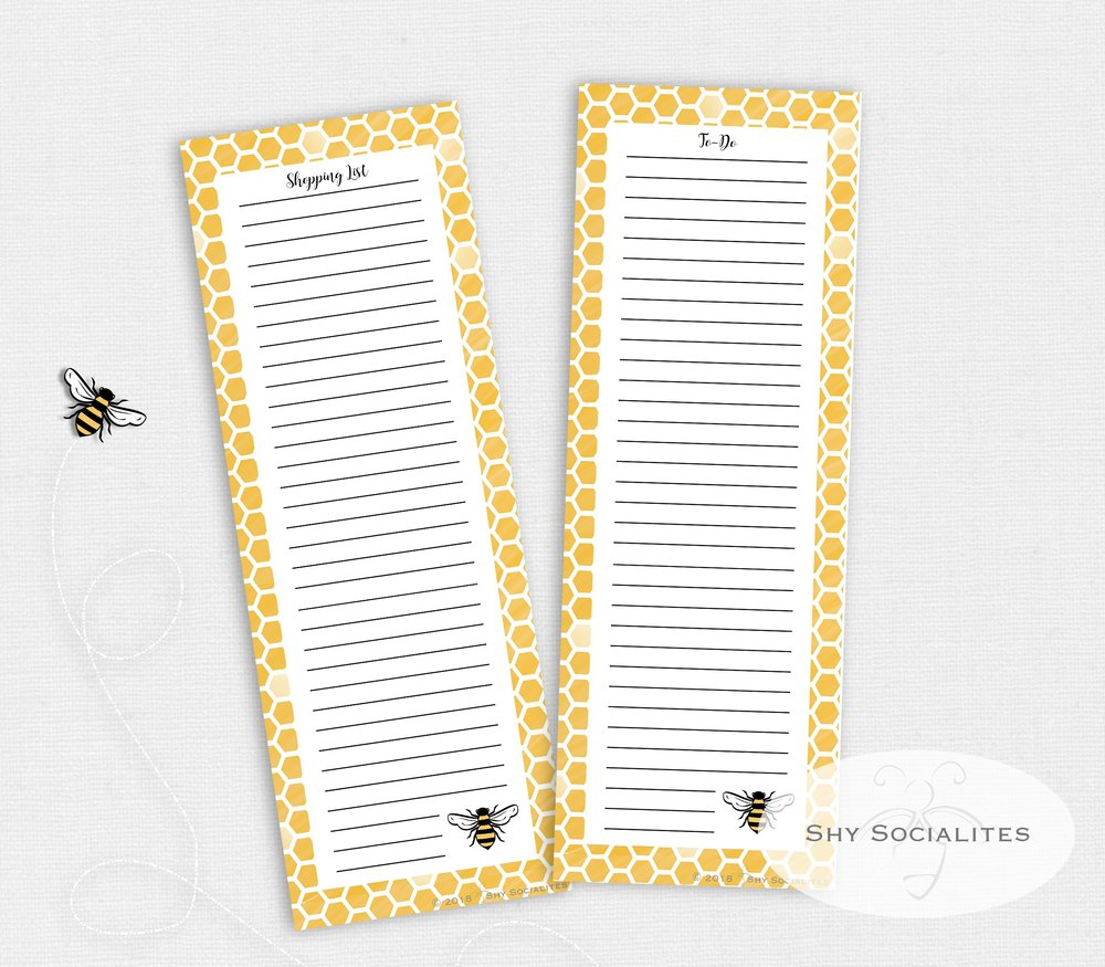 Bee Shopping and to-do pages, custom illustrated and designed by Shy Socialites!