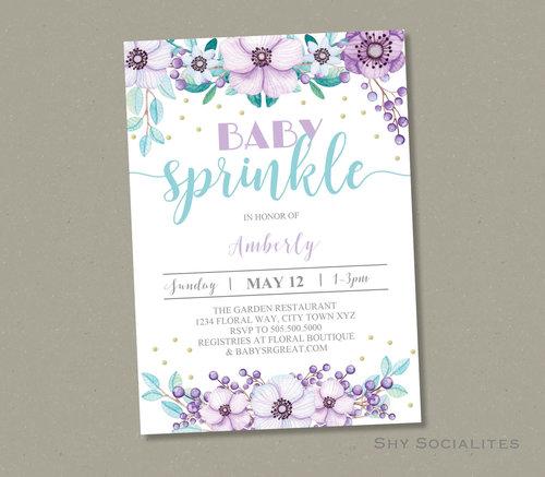 floral baby sprinkle invitation shy socialites