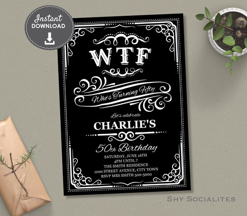 WTF Whiskey Label 50th Birthday Invitation