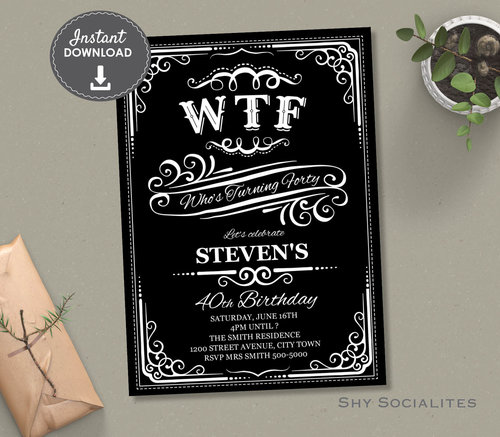WTF Whiskey Label 40th Birthday Invitation 40 White Web