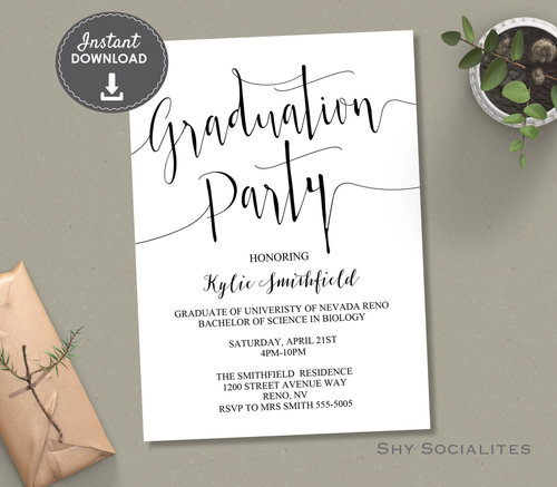 calligraphy graduation party invitation shy socialites