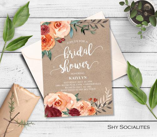 75e06905c5b7 Floral Kraft Bridal Shower Invitation — Shy Socialites