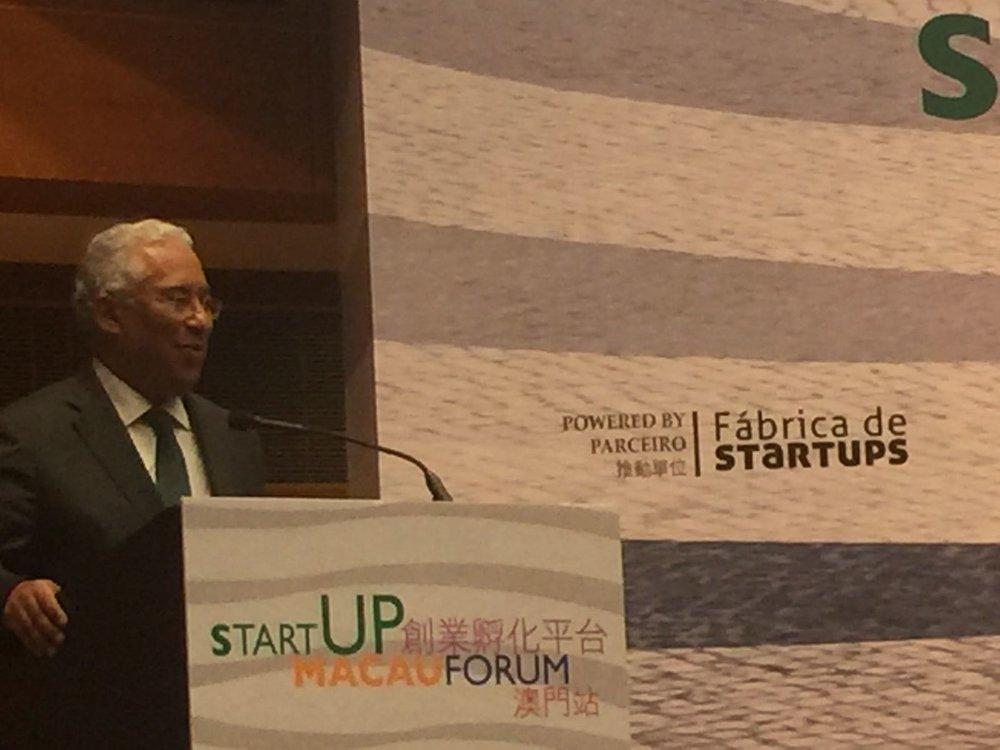 Primeiro ministro de Portugal, António Costa, no StartUP Macau Forum