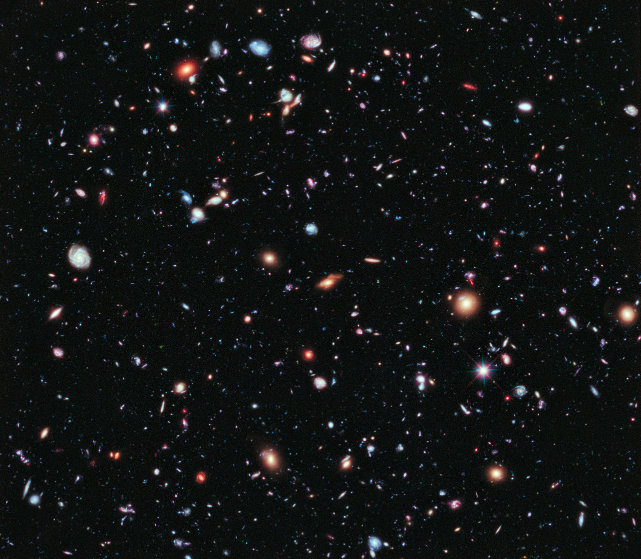 jtotheizzoe: Hubble Goes Back In Tiiiiiime If I may: Some recommended listening to accompany this post. Over the course of 50 days, and a total exposure time of 2 million seconds, the Hubble Space Telescope captured the above image. This eXtreme Deep Field (XDF) view is like visual time travel, revealing galaxies so distant that the light that made the image was released 13.2 BILLION years ago. That was only about 500 million years after the Big Bang! This image only contains about 5,500 galaxies because its field of view was so much smaller, and many of them are very young in this image. This means that we can use it to gain clues to how things were churning and forming in the Olde Days of the Universe. I stared at this for several minutes, and was awed by two thoughts: How many of these don't even exist anymore? How many stars just like ours are inside of each one? Tour a hi-res image here, and share in the wow. (via HubbleSite) This is phenomenal.