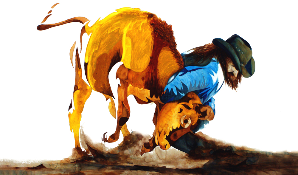 ★ Bull'd Down    (40X60) watercolor / gouache (Fall 2011)
