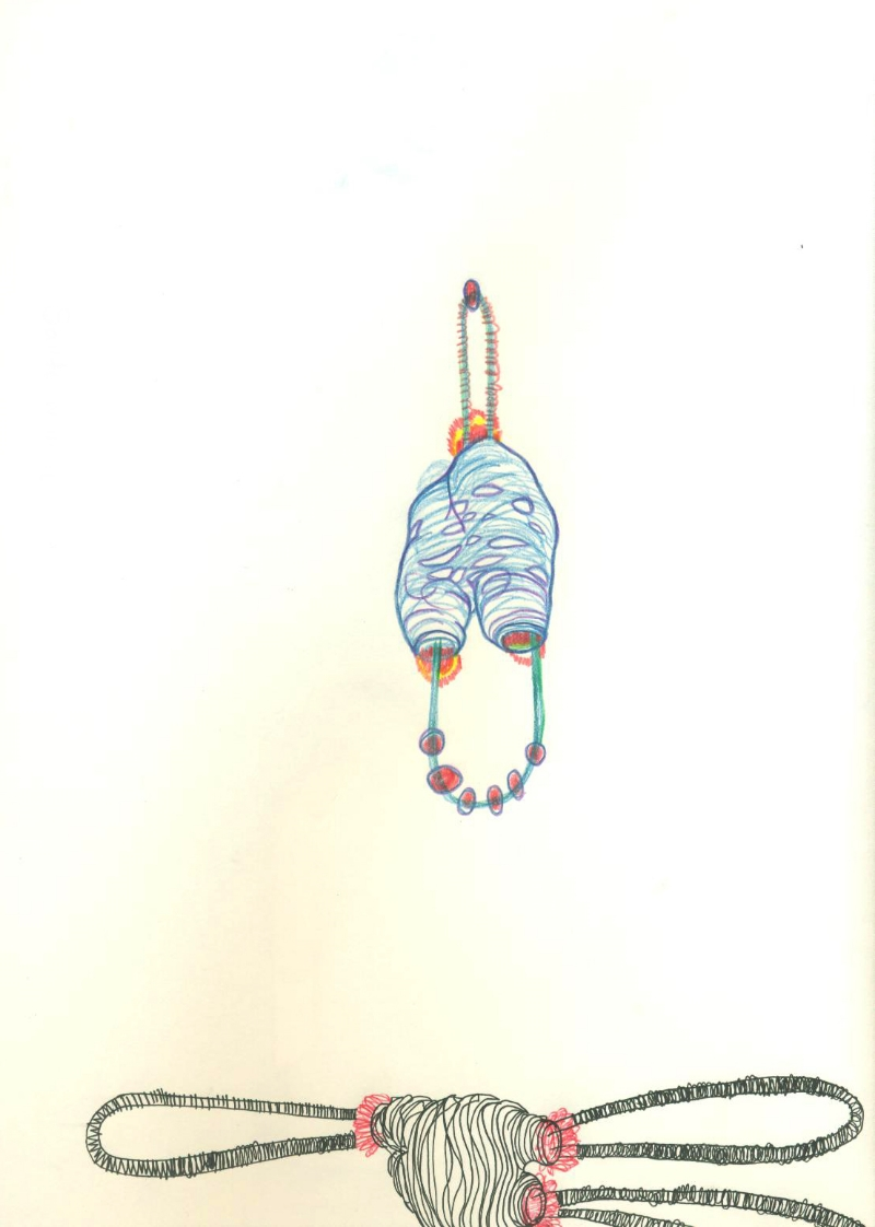 Jina Seo - A Finger Toy  / drawing / pen, color pencil on paper