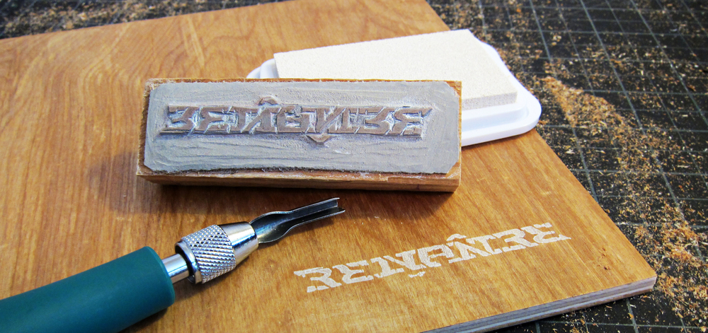 Hand-carved linoleum stamp to mark each piece with pigment ink.