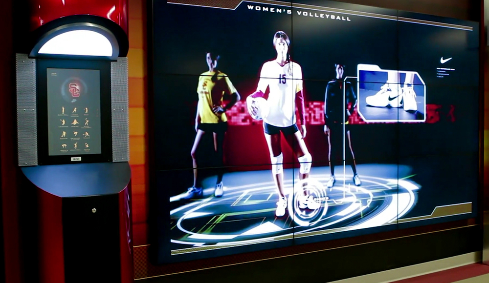 John McKay Center installation image: Interactive Nike Wall tablet UI design