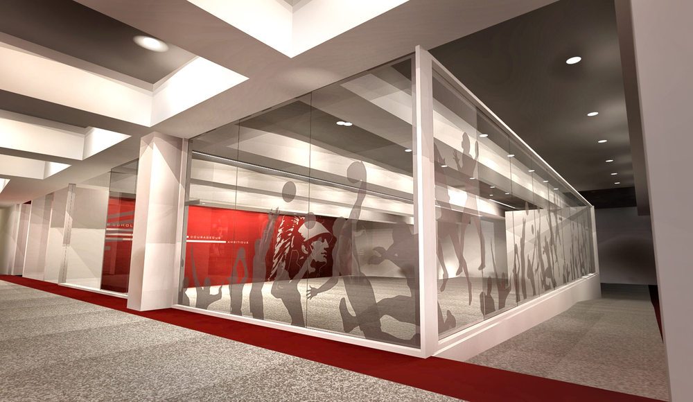 Heritage Hall concept rendering: Sports lab glass and room concept design