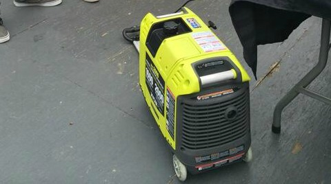 Ryobi Generator, light weight, pull handle on the bottom to make it versatile for moving around.