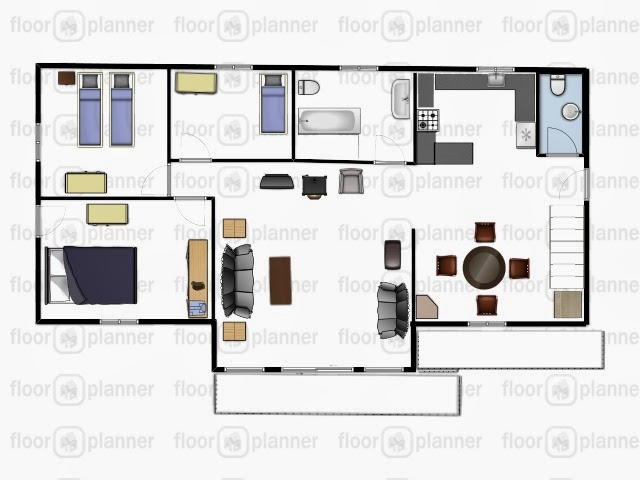 1200 sq ft bungalow 70's home. The layout was very awkward especially with the main bathroom outside the kitchen and living room.