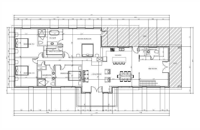 Our final plan. Another small addition to the back which allows us to move the master suite to the back for more privacy from the street, 3 very nice sized bedrooms, a main bathroom centralized in between the 3 bedrooms, a new roof to raise the wall height, a pantry added beside the kitchen. a walk out door from the kitchen onto a fully covered porch.