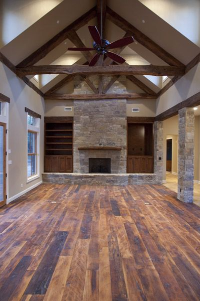 We plan on using a similar stone like in this picture and bringing the stone all the way to the ceiling which is around 15ft. Picture was sourced  here .