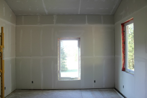 Bedroom two - This room will have natural light all during the day. The one window is lower then the two side windows so that the front of the house windows would all align.