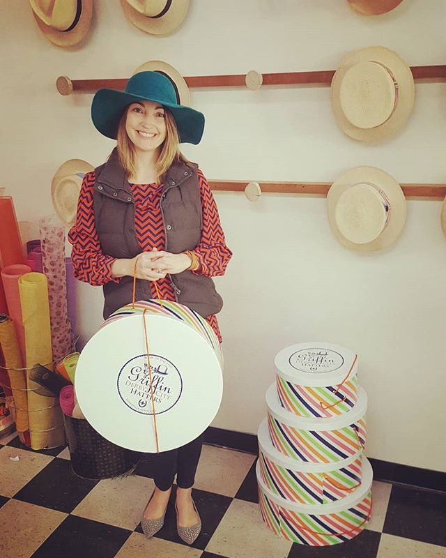 How fab is Brooke in her custom turquoise Bohemian! And she's the first customer to walk with one of our 2018 hat boxes! #hat #hatboxk
