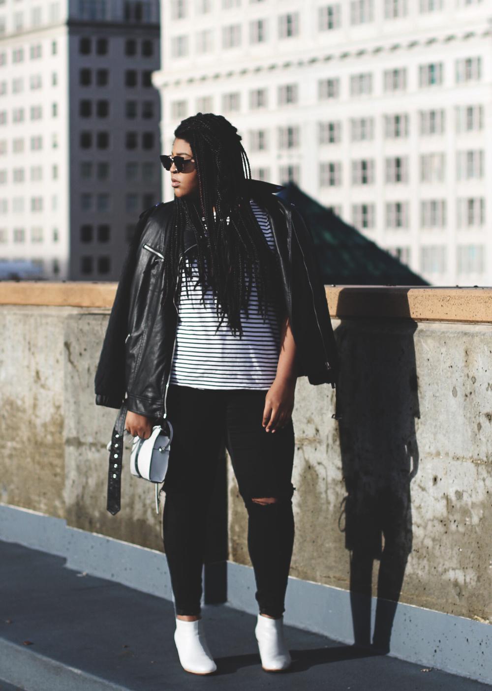 Jacket & Sunglasses - F21, Shirt  - American Apparel,  Bag  - H&M,  Jeans  - Garage,  Boots  - Solestruck