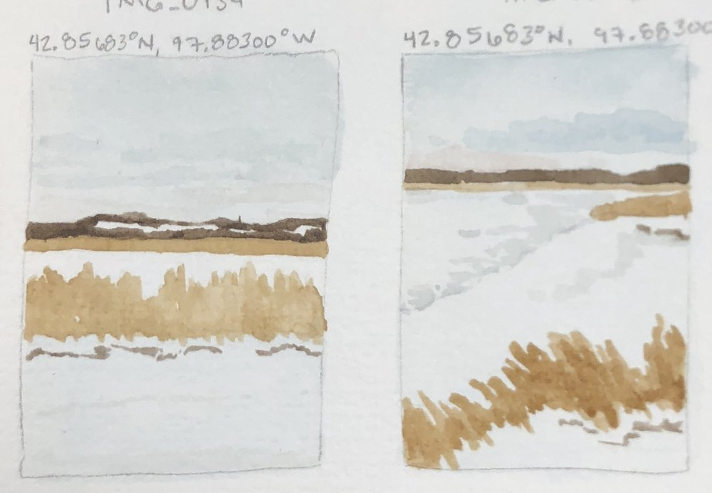 Quick watercolor sketches of a few of the views from Springfield Recreation Area