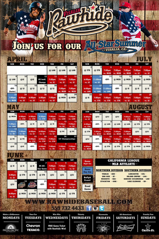 2017 Visalia Rawhide Schedule Poster