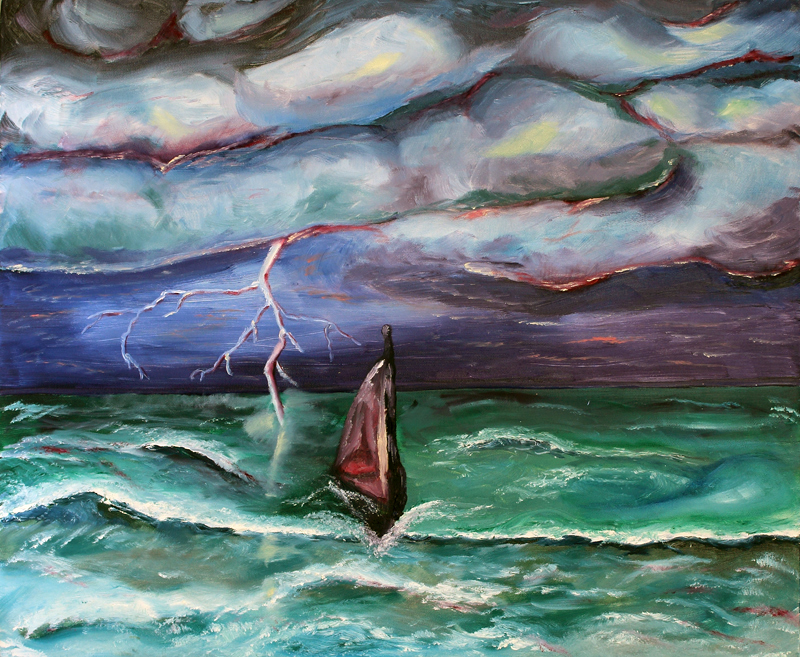 """Stranded."" I painted this during college at a time when I was feeling lost in my internal storm of fear."