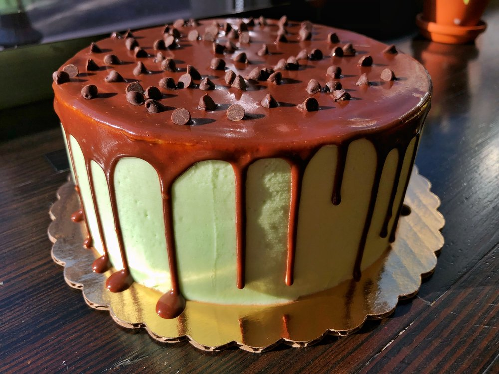Devil's Food Cake, Mint Icing, Chocolate Top