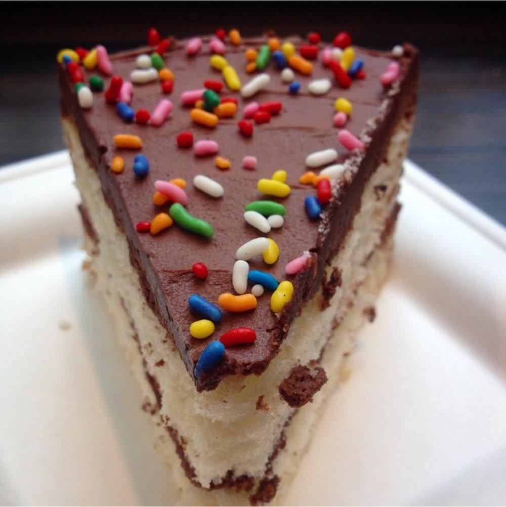 Perfect White Cake, Chocolate Icing, Rainbow Sprinkles