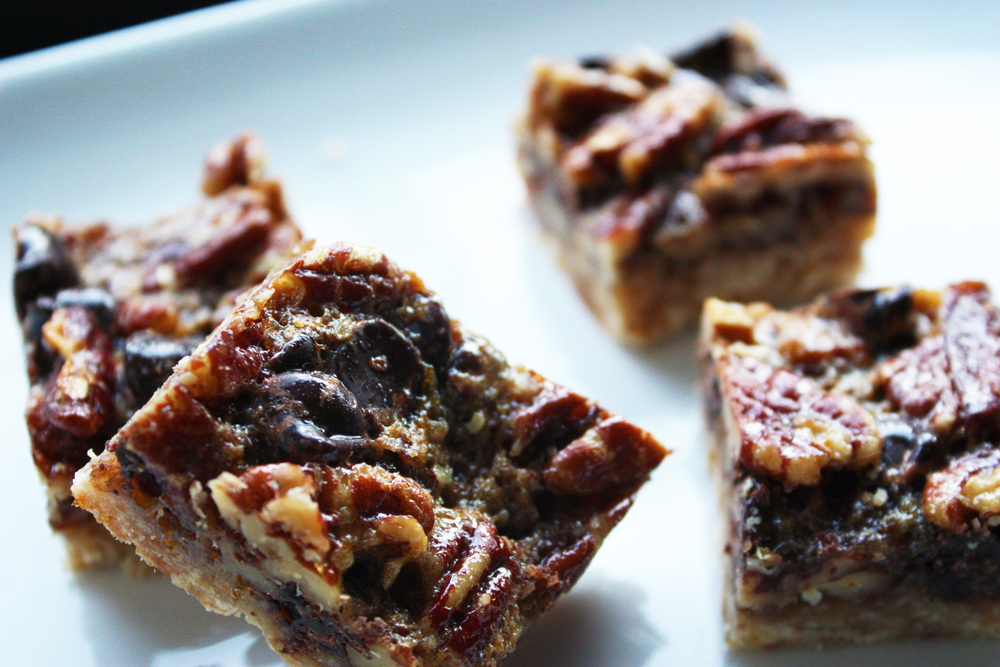 Chocolate Chip Pecan Pie Bars - hunt-and-harvest.com