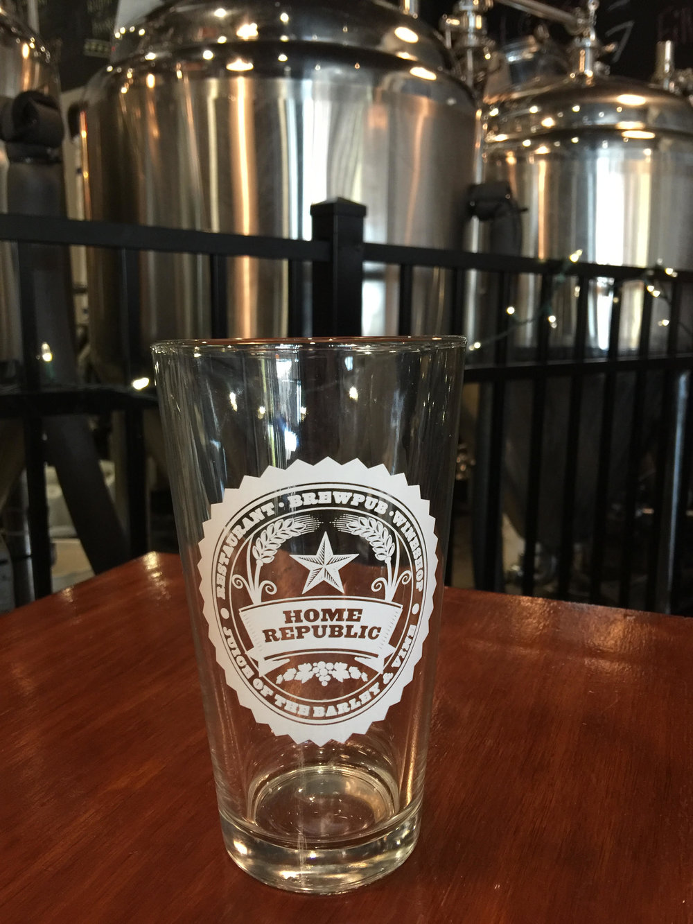 16 oz pint glass with Home Republic logo in white.   $5 + Shipping