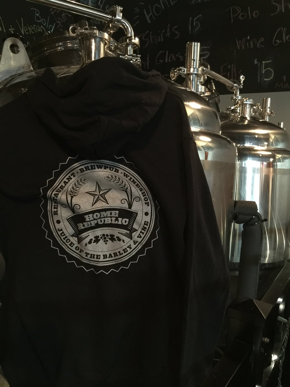 Home Republic Zip Hoodie in Metallic Silver.  Front.  Sizes: S, M, L, XL $35 + Shipping