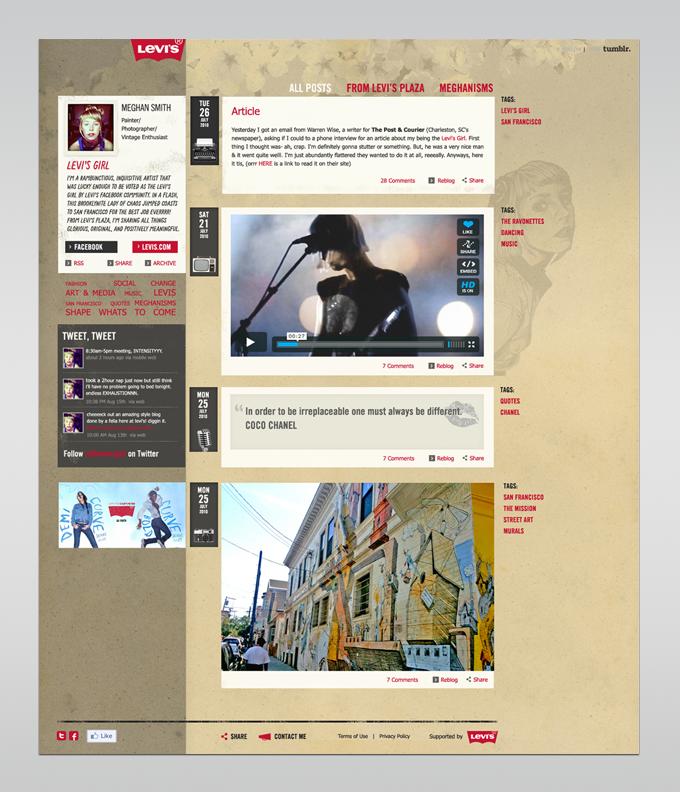 Brand ambassador's blog (custom Tumblr design).