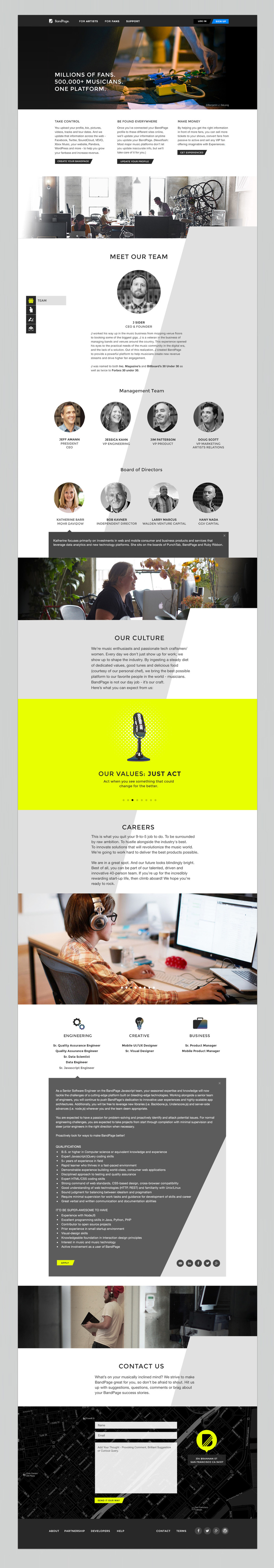 About Us - with executive team bios, current job options, company's culture (slideshow) and more.