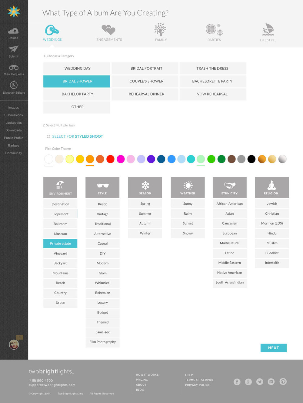 Product Design: Create Album Section - Categorization and Tagging.