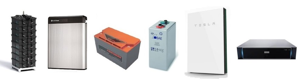 Some of the many different battery types available, From L to R: Aquion AHI, LG chem Lithium DC, Narada lead-carbon, BAE sealed lead-acid, Tesla AC battery, Pylon Tech Lithium LFP.
