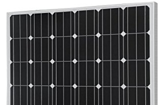 Typical monocrystalline solar panel with the distinct diamond pattery between the dark cells