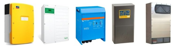 The top 5 off-grid inverters - SMA Sunny Island, Schneider Electric XW+, Victron Multiplus and Quattro, Selectronic SP PRO and the Outback Radian series from the US.