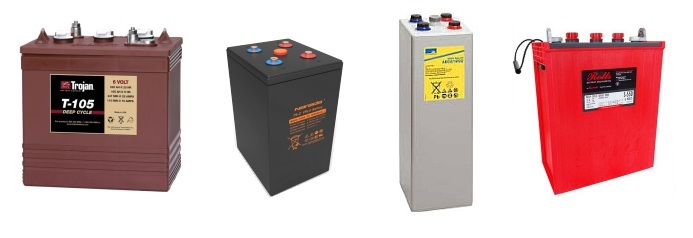 Lead-acid deep cycle battery options - 2V, 6V or 12V options and various types - Gel, AGM, Flooded