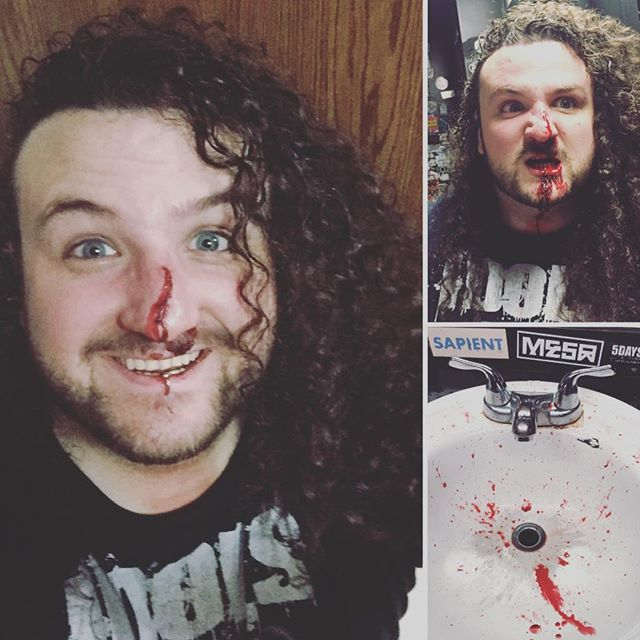 George had a bloody good time at the @strayfromthepath show tonight. #bloodynose #moshpits #strayfromthepath #twosteppin #idols #bleedmetal