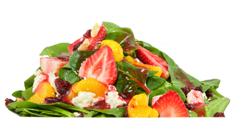 Fresh Spinach Salad: Baby spinach, roasted walnuts, mandarin oranges, fresh sliced strawberries, dried cranberries and feta cheese with a Raspberry vinaigrette dressing.