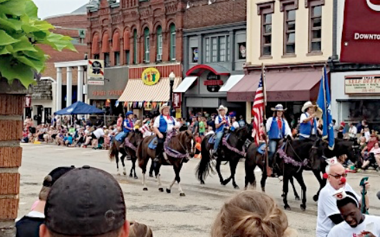 The Wisconsin Morgan Horse Club Parade Unit in the Baraboo Circus Parade.