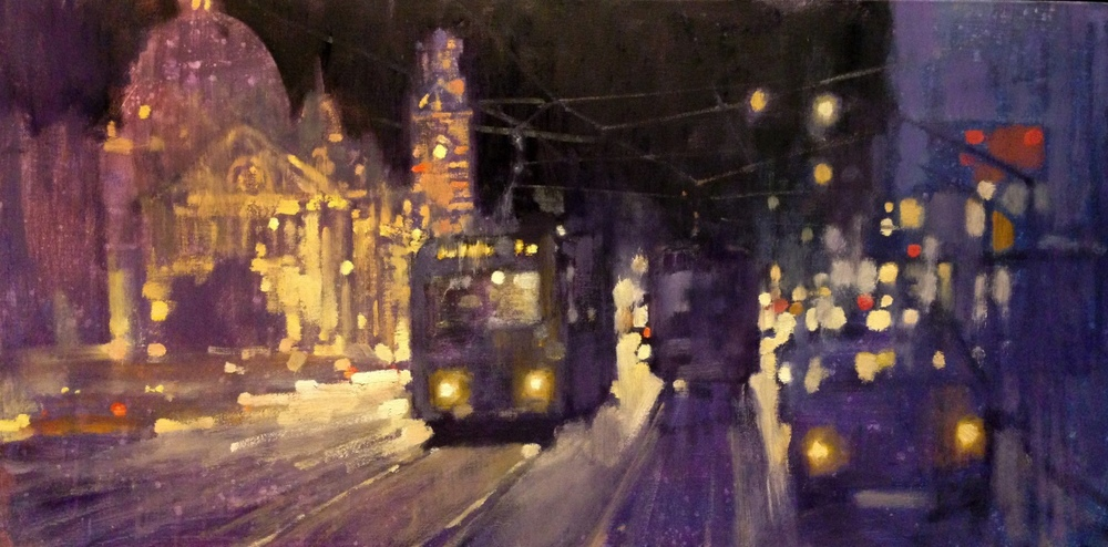 Night tram to East Melbourne
