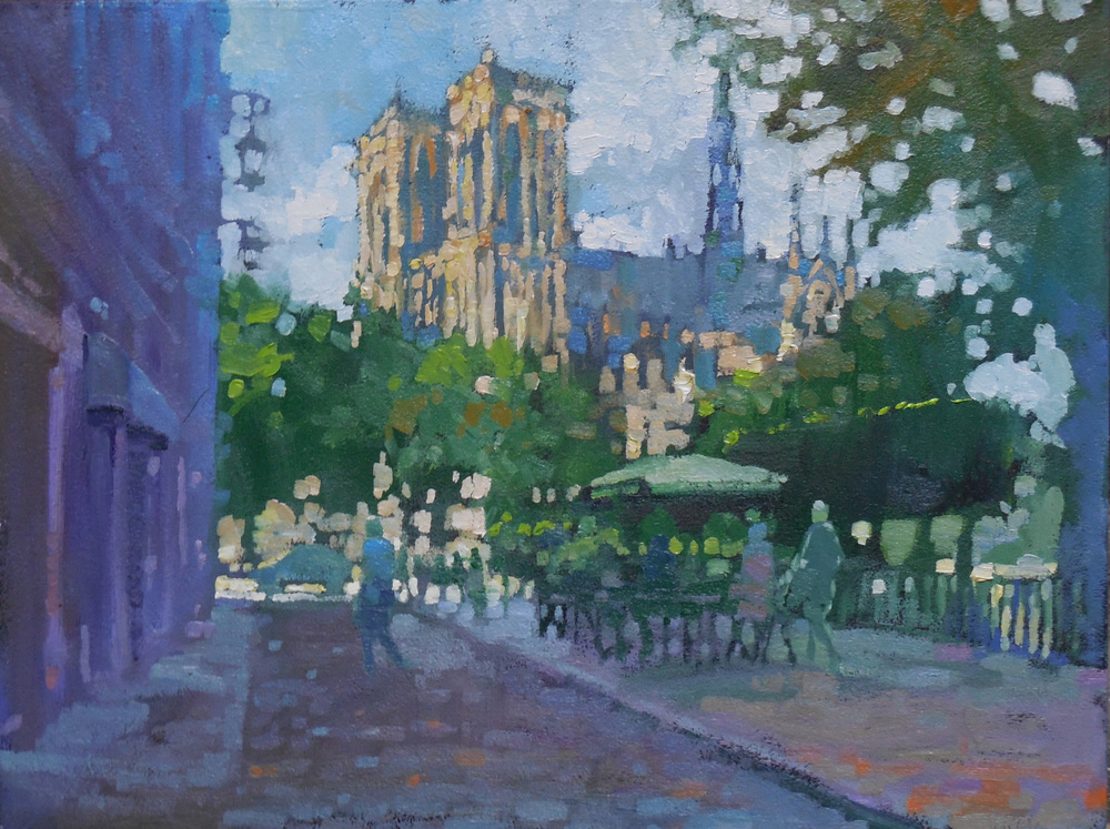 Early Evening Light on Notre Dame from Rue Gala