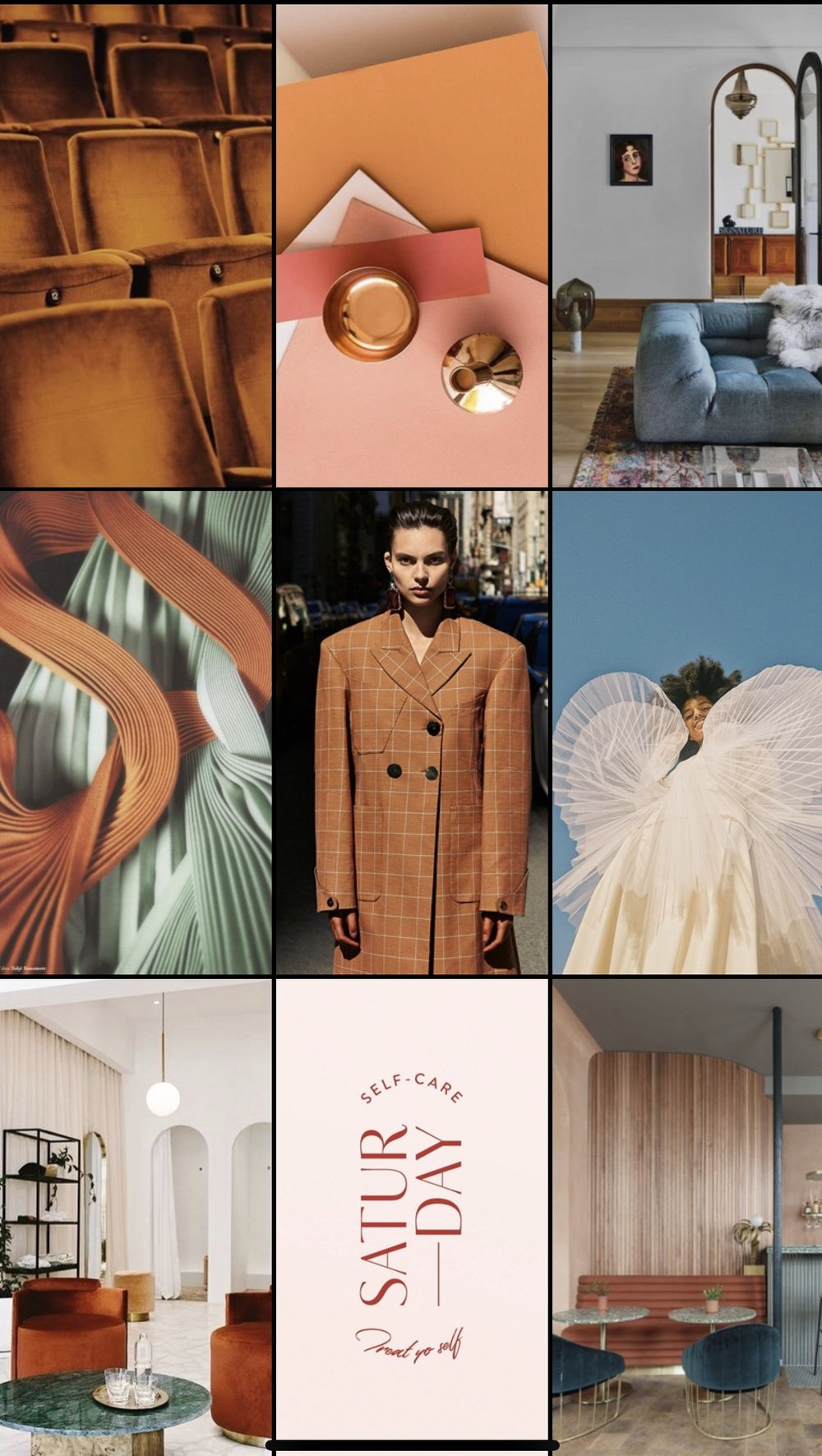 Some of the inspiration images searched for and collected on Pinterest.
