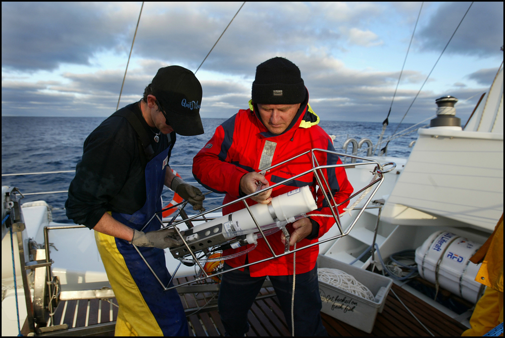 Peter Gill working on equipment for Blue Whale research off Portland, Victoria Photo: Sandy Scheltema
