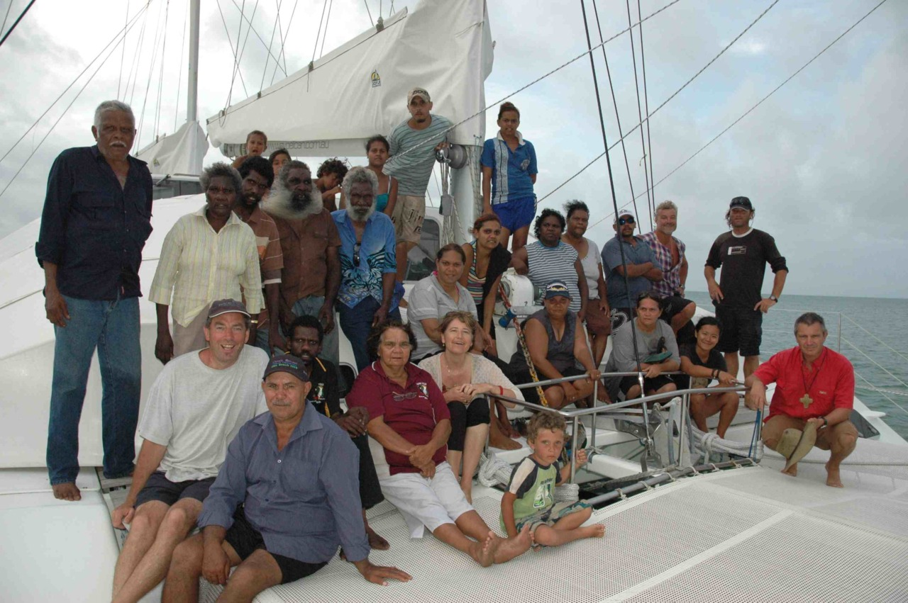 Memorial sail for Peter Malcolm. Group portrait. Hope Vale / Pelican project 2010. Cape Flattery #Capeyork #seacountry