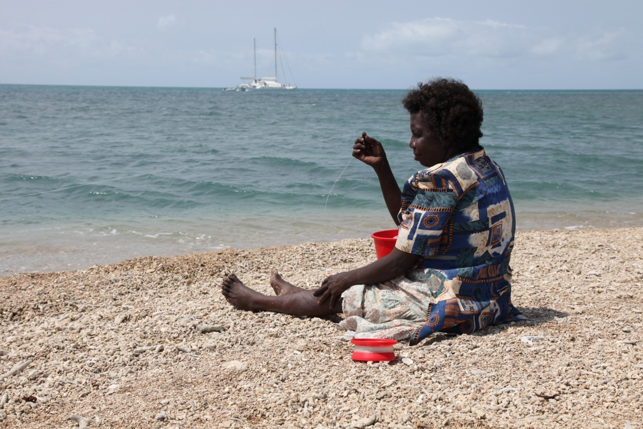 Remote fishing- Ursula Burns from Hope Vale fishing at Petherbridge Islet during Hope Vale/Pelican project. #CapeYork #seacountry