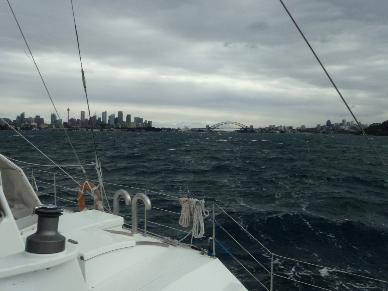Pelican1 blasting into Sydney Harbour on her first leg of Pacific journey. Flying in 40 knots on a single tack up to Rushcutters Bay. #sailing #pacificjourney Photo- Karl Chappell- First Mate.